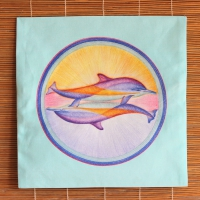 MandalaKissenHülle - Delphinpaar